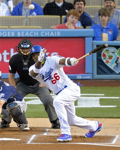 Dodgers' Yasiel Puig has been on fire ever since he joined the big club. He is hitting .417 with 7 HRs and RBIs through his first 25 games.