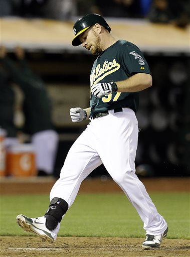 Brandon Moss has unleashed some serious power in the Bay Area since becoming  a member of the A's.  He has clubbed 59 HRs and added 172 RBI in just 844 AB.  This means he is averaging a big fly for every 14.3 AB, and about an RBI every 4.90 AB.  This is outstanding production.  In 550 AB, he would club about 38 HRs and add about 112 RBI.  Oakland has him under team control for 2015 and 2016 in Arbitration before he can hit Free Agency.  Moss has 8 HRs (2 last night) and knocked in 33 - while carrying a 3 Slash of .286/.364/.526 - which is close to his .894 Lifetime OPS with the A's,
