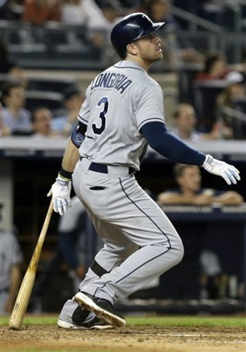 In my view, Evan Longoria could end up being the MVP of the entire playoffs.  I am predicting the Tampa Bay Rays are going to win the World Series versus the LA Dodgers, in what should be a classic Pitching duel of some of the best Starters in the game of baseball today.  Wil Myers and Ben Zobrist help pitching in will also be Paramount.  Picking up proven playoff performer Delmon Young (HR'd last night - and is .266/.328/.887 - with 9 HRs and 16 RBI In 109 AB was also a good move by the Rays brass.  If these guys hit, the Pitching should do enough.