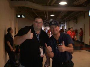 Ballpark Chasers Steve Fekete (left) and MLB Reports Owner (Right) in the bowels of Angel Stadium.