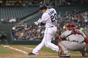 Carp hit .276/.326/.466 with 12 HRs 46 RBI and 17 2Bs in 79 Games for the Mariners in 2011. He also showed really good power potential while at AAA hitting 29 HRs in 110 Games in 2010 and 21 HRs in 66 Games in 2011.