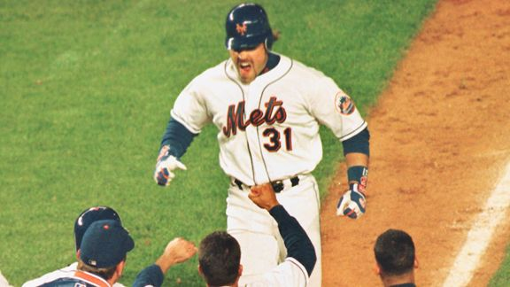 Mike Piazza was stellar in the 2000 playoff run for the Mets, collecting 4 HRs and driving in 8 RBI in just 39 AB between the NLCS and World Series of that year.  He was clutch, hit big HRs, survived the New York Media was grace and his endearing personality,  He should have his number retired by the Mets one day.  This guy was one of the best acquisitions made in the last 20 years by the franchise, in what has become a plagued trading and signing organization.