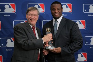 (L-R) MLB commissioner Bud Selig presents the Commissioner?s Historic Achievement Award to Ken Griffey Jr. prior to Game Four of the MLB World Series between the St. Louis Cardinals and the Texas Rangers at Rangers Ballpark in Arlington on October 23, 2011 in Arlington, Texas.