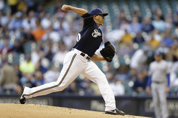 Kyke Lohse has been the one bright spot for the Brewers starting rotation this season. He is the ace of the staff and  he can be someone that the younger pitchers can look up to. The right-hander has won seven games for the club this season, with an ERA of 3.22 in 134.1 innings pitched. He has also has a WHIP of 1.13 and has only walked 88 batters. Loshe relies on having control of all his pitches to have success against opposing batters. He is limiting batters to a .254 average on the season and left-handers can only manage a .232 batting average in 233 at-bats. He is very impressive while pitching with runners in scoring position, as teams just have a .194 average.