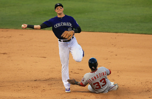 Troy Tulowitzki is one of the best all-round shortstops in baseball. he plays Gold Glove caliber defense, and is a great offensive player. He is the heart and soul of the Colorado Rockies. They are a better team when he is on the field.  Tulo has a .321/.387/.977 triple-slash in 290 at-bats this season. He has 20HRs and 60 RBIs on the season to go along with 18 Doubles and 93 hits overall. He is first in the NL with a Fielding Percentage of .992.  The young shortstop can hit righties or lefties. However he does have a higher average against righties with a .330 average facing them. He is also excellent with runners in scoring position, as indicated by his .330 batting average and and 40 RBIs in 90 at-bats.