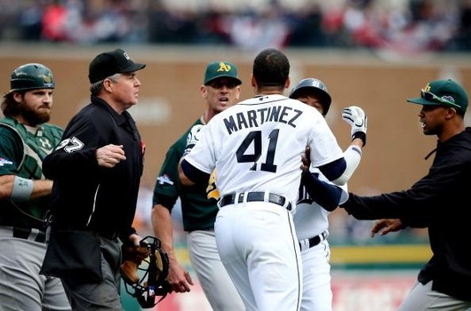 Victor Martinez took exception to Grant Balfour blurbing something under his breath.  Martinez has been around long enough to know that this is part of the Aussie's act, however, when you hear the verbal exchange, you get a sense that something set off V-Mart.