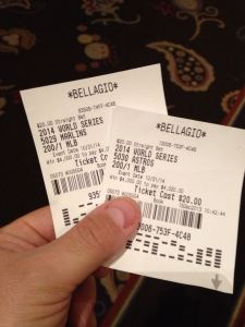 This is Lead Writer Sully's ticket from the Bellagio in Vegas.  If you are in the area - and can still receive the 200/1 odds for the Marlins to win the World Series - than do it.  On the bet365.com website, they are only valued at half of that.  While it is unlikely to ever happen, it might be worth a few pesos..At least they have a #1 pitcher.