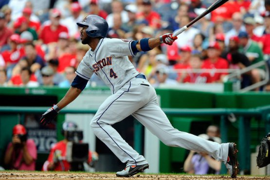 Just who is Dexter Fowler?  For his career totals, he has a 3 Slash Line of .298/.395/.880 in Coors Field, and his Road numbers are .241/.333/.694.  Having said this he will definitely help out the Houston Astros with their offense.  The Rockies also won't have to pay him for his 3rd Year of Arbitration (Super 2).  Fowler stands to see a raise based on his 2013 salary of $4.25 MIL.  Shout out to Ryan Dunsmore (@d_more55 on twitter) of the Crawfish Boxes for photoshopping Dexter Fowler into an Astros uniform.
