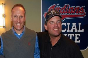 Chuck Booth was visited by the Indians President Mark Shapiro during his trip to Progressive Field in 2012 as part of his World Record Streak.
