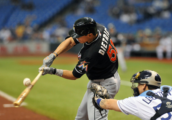Derek Dietrich is among 5 guys for the Marlins that are making contributions to the big team as part of the assets acquired in the 2012 winter trade of the Marlins and the Blue Jays.  Desclafini and Alvarez in the rotation currently, and Hechavarria is playing 2B.  Dietrich was traded from Tampa to Miami for Yunel Escobar (who came over in the deal as well) and Backup Catcher Jeff Mathis.  The team also has Jake Marisnick and Justin Nicolino in the Minors  Marisnick played in 40 games for the fish last year.  Blue Jays have just Buehrle and Reyes left.  John Buck was considered a minor part of the RA Dickey deal too.