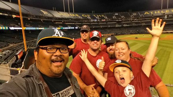 Hanging with the RF Bleacher Creatures, and new friends.  It was honor to be part of your crew out there in Section 148 Oakland!!