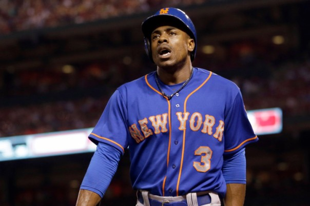 New York Mets' Curtis Granderson heads back to the dugout after striking out during the sixth inning of a baseball game against the St. Louis Cardinals, Friday, July 17, 2015, in St. Louis. (AP Photo/Jeff Roberson)