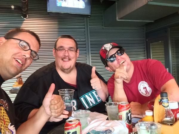 Scott Bultman JR. on the left, Kenneth A. Lee in the middle and I am on the right - all enjoying $6 Tecate Beers in the Hit it Here Cafe at Safeco Field Monday Aug.24, 2015