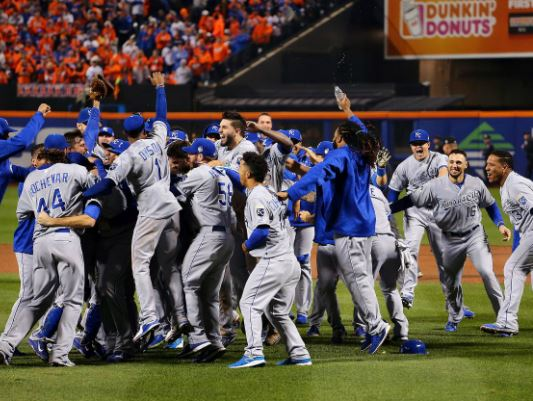 The Royals had home field in the 2015 World Series, yet played 1 less game at their park than the Mets, who they defeated in 5 games. Since the ALL - Star Game deciding which League would host more games, the winning team has actually had their park be the home venue for 2 less dates than the loser. There is a culprit in this fiasco, and that is the 2 - 3 - 2 format. I am proposing a 3 - 3 - 1 format or 2 - 4 - 1 change to the Fall Classic, Because of travel they would never do the 2-2-2-1 format ever again. ALEX TRAUTWIG/GETTY IMAGES